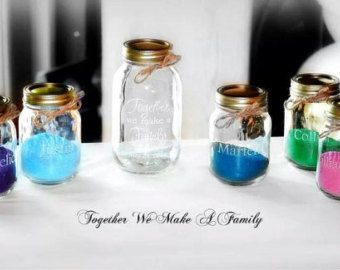 5 Piece Engraved Sand Ceremony Set Together We Make A Family 4 Pouring Vases Mason Jars Personalized Keepsake Wedding