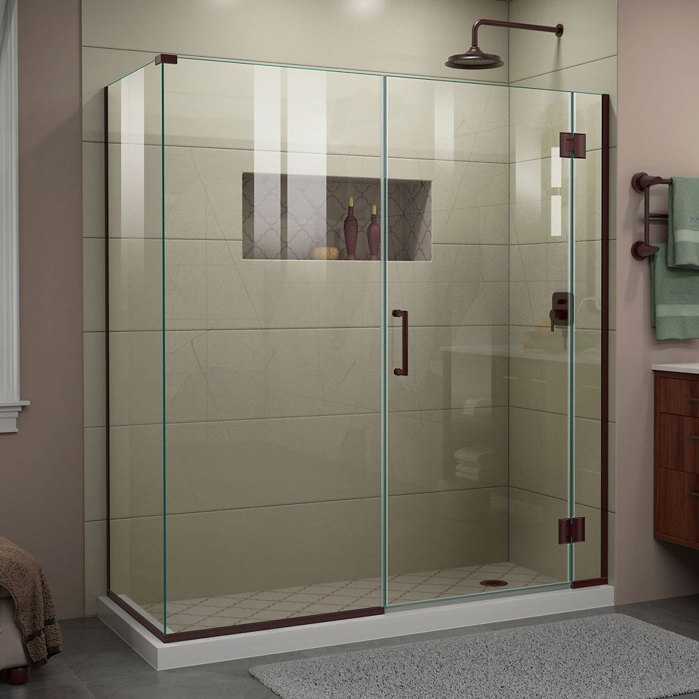 Unidoor X 63 1 2 Inch W X 30 3 8 Inch D X 72 Inch H Shower Enclosure In Oil Rubbed Bronze Finish Shower Doors Frameless Shower Doors Frameless Shower Enclosures