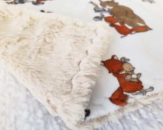 Fox Security Blanket, Minky Security Blanket for Boys, Bear Lovie, Woodland Animal Baby Shower Gift #securityblankets