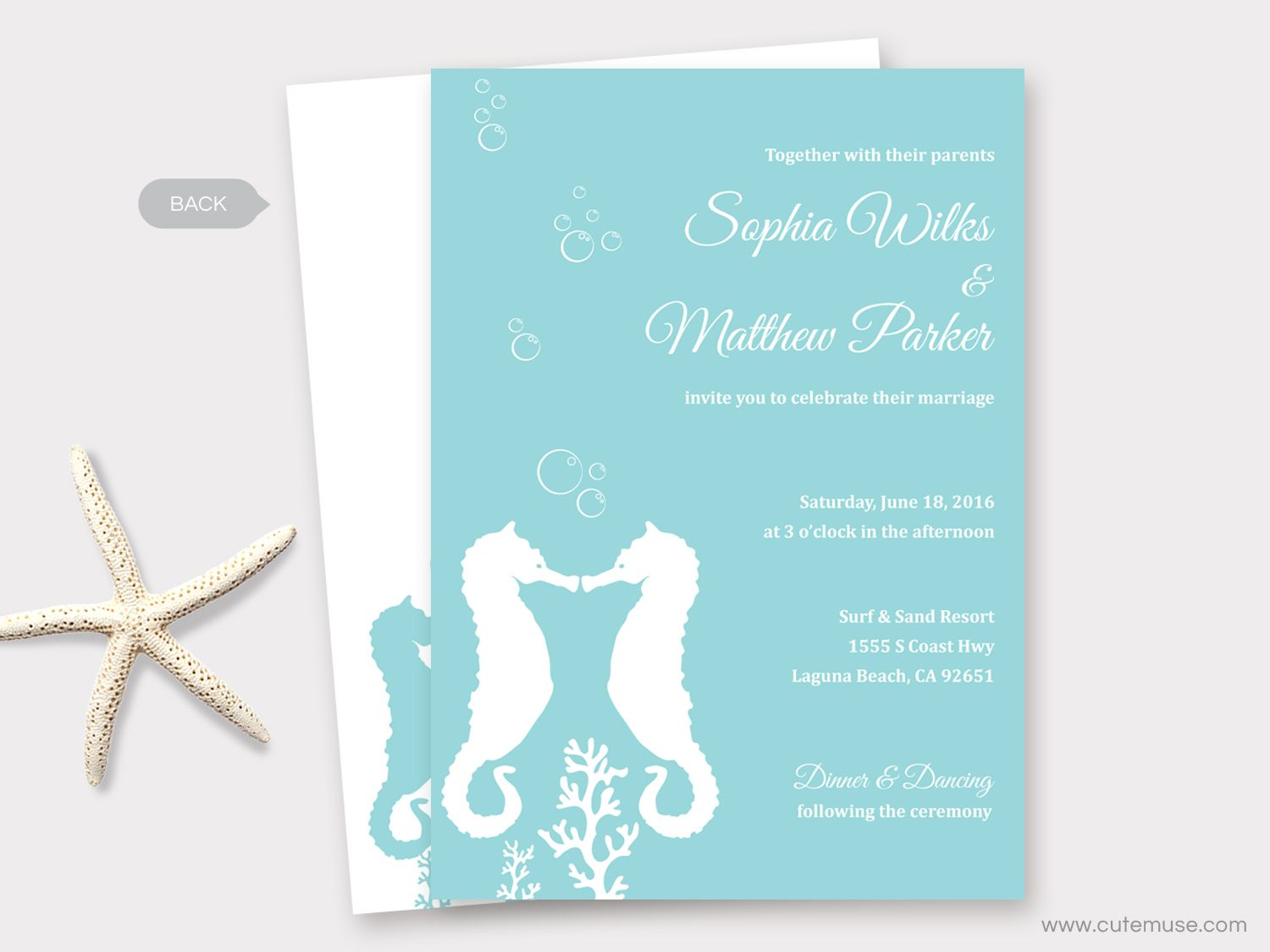 Beach Wedding Invitation Printable, Seahorse Wedding, Destination ...