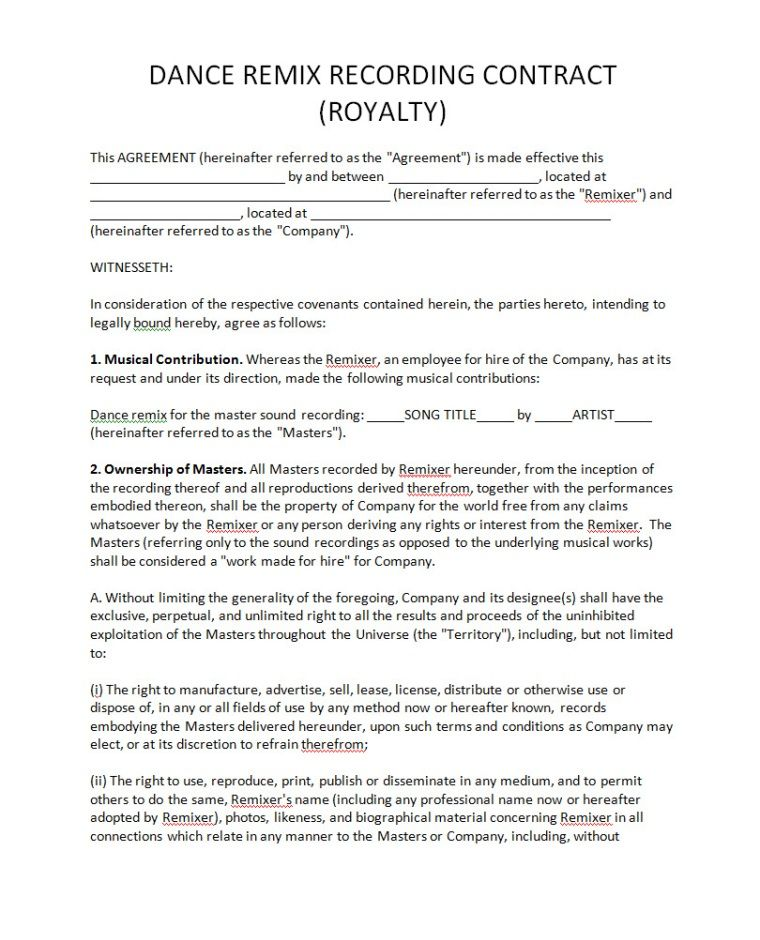 Pricing Record Label Agreements - royalty agreement contract