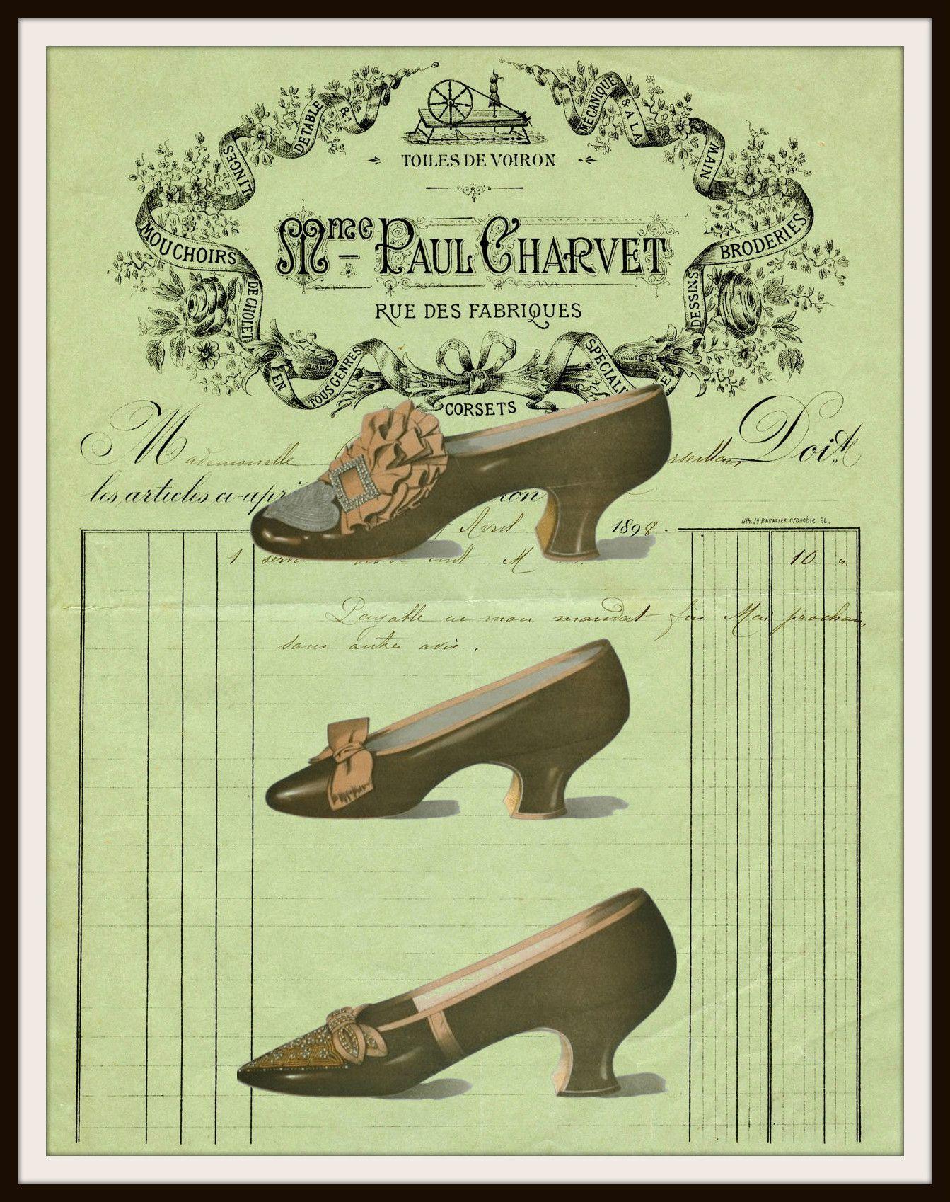 Vintage Shoes on Ephemera Art Print Wall Decor 8.5 x 11 ...