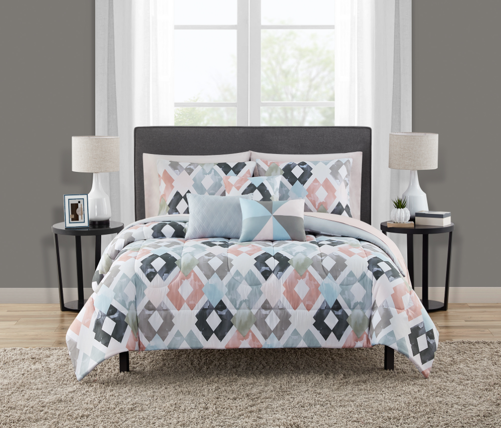Mainstays Reversible Marble Diamond 8 Piece Bed in a Bag Bedding