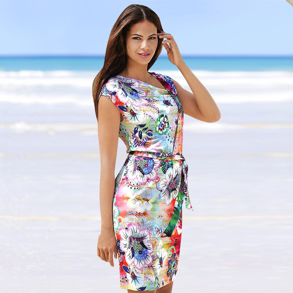 alba moda strand-kleid mit blumendruck in dezentem farbspiel
