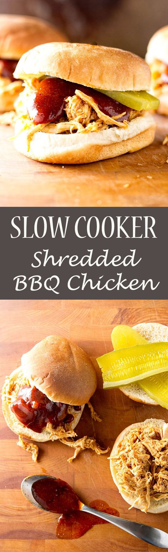 Slow cooker shredded BBQ chicken | get more sandwich ideas! https://www.pinterest.com/april7116/burgers-sandwiches/