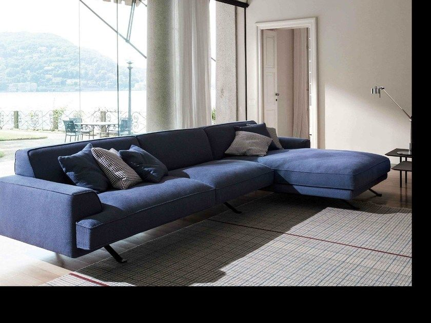 Corner sofa with removable cover with chaise longue SLAB