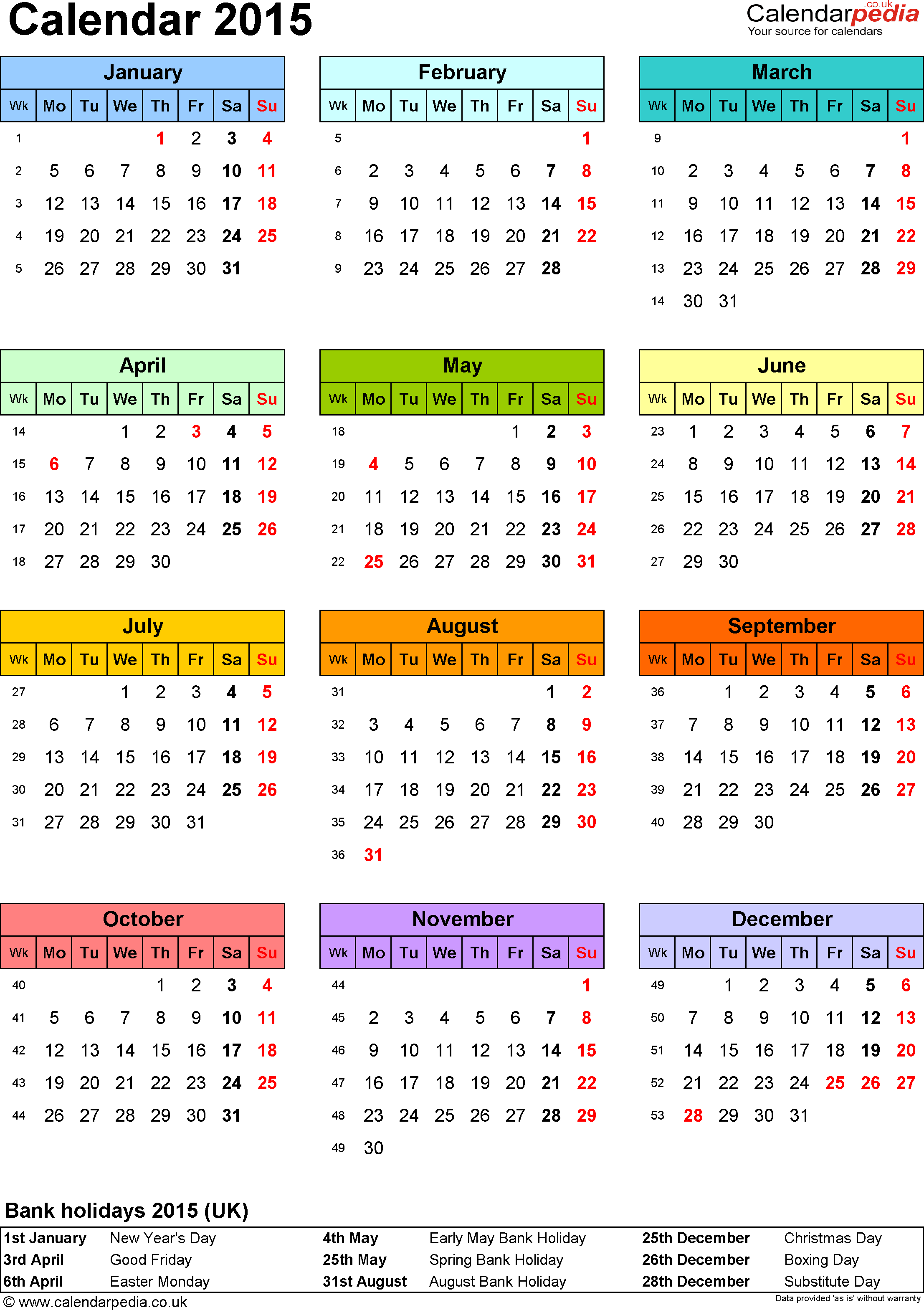 Template 9 Yearly Calendar 2015 As Pdf Template Portrait