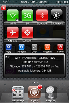 SBSettings iOS Cydia SBSettings don't Jailbreak