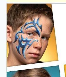 Schmink stoere tribal jongen /  boy stuff face paint www.hierishetfeest.com