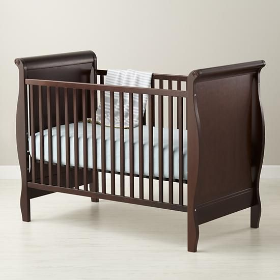 The Land Of Nod Baby Cribs Baby Espresso Sleigh Crib In Cribs