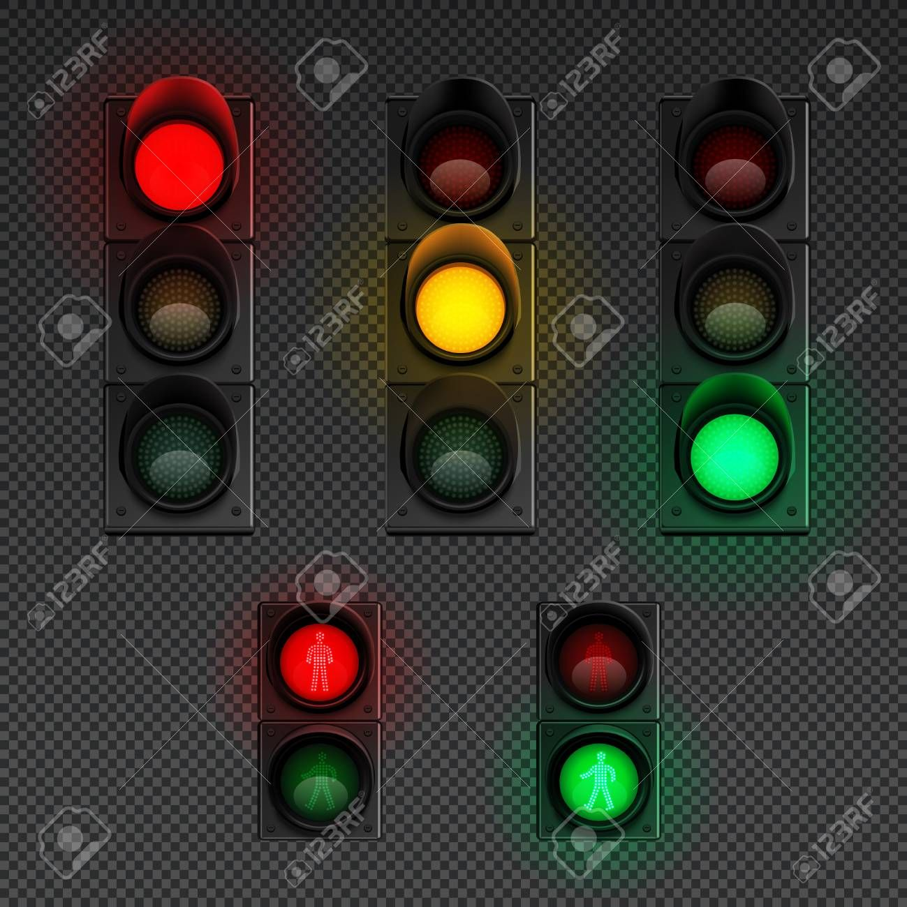 Traffic Lights Realistic Transparent Icon Set With Traffic Light For Pedestrians And Different Others Vector Illustration Traffic Light Light Icon Icon Set