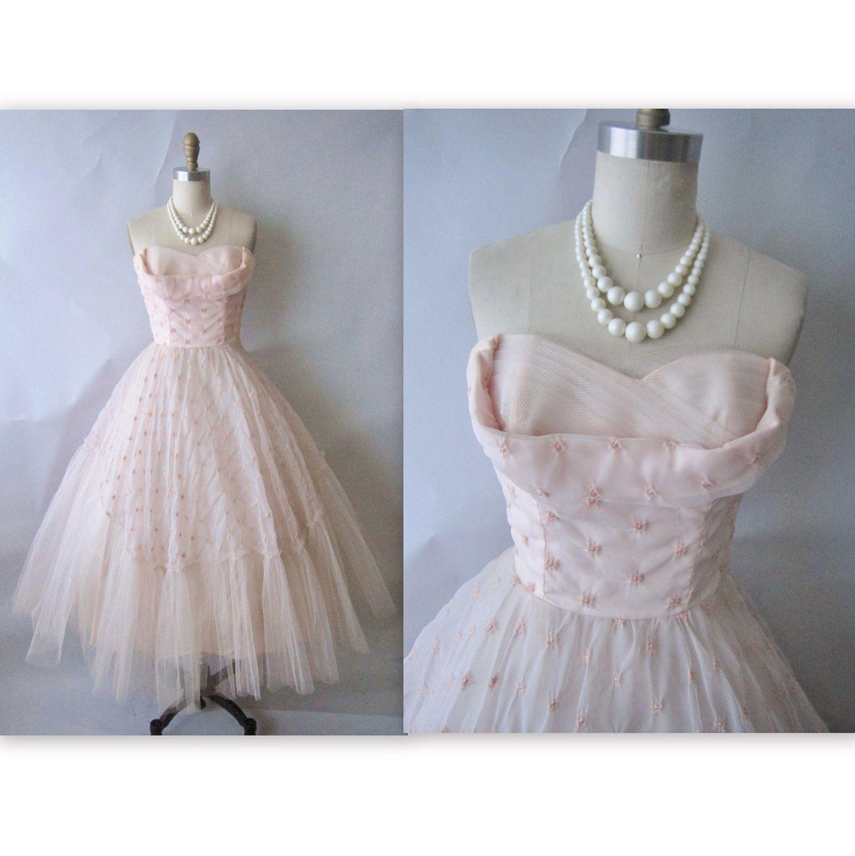 50's Prom Dress // Vintage 1950's Strapless Pink Chiffon