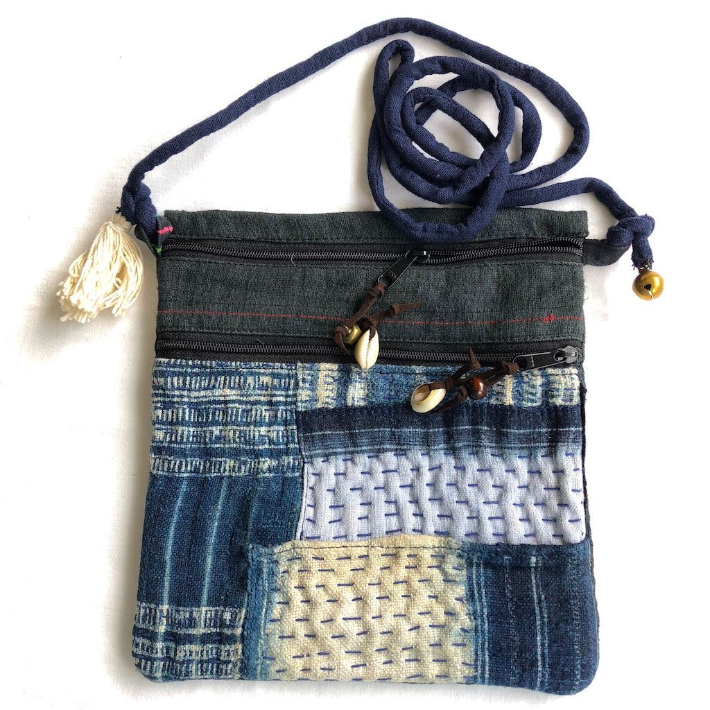 d38a1cc30682 Hmong indigo and hemp crossbody bag - hemp travel pouch Fabric Bags