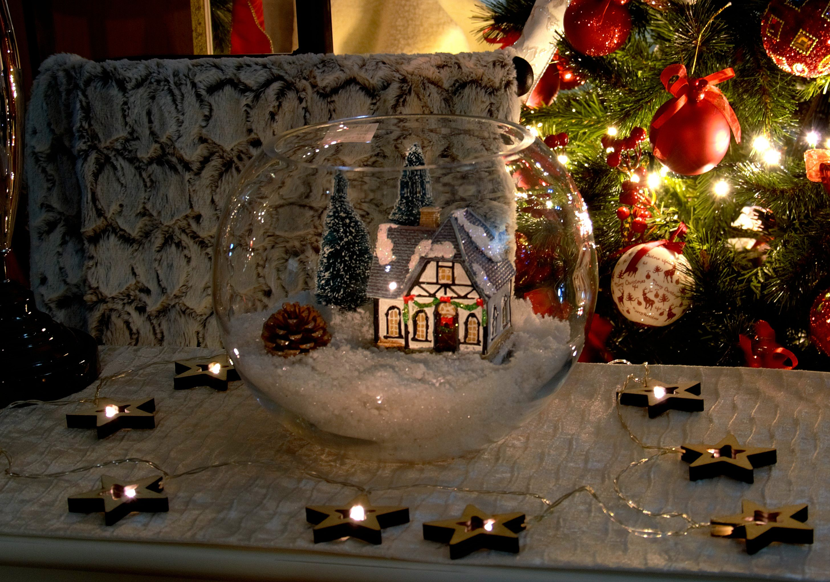 Casita navide a guirnalda estrellas con luz arbol de - Guirnalda de navidad ...