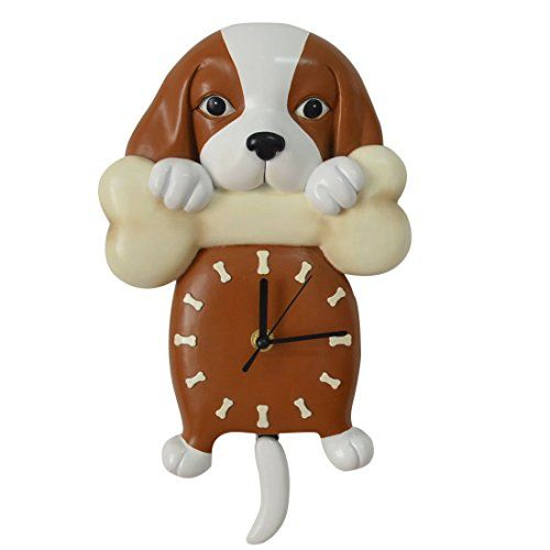 Marvelous Giftgarden Puppy Dog Holding Bone Wall Clock With Tail Pendulum For Pet  Owner