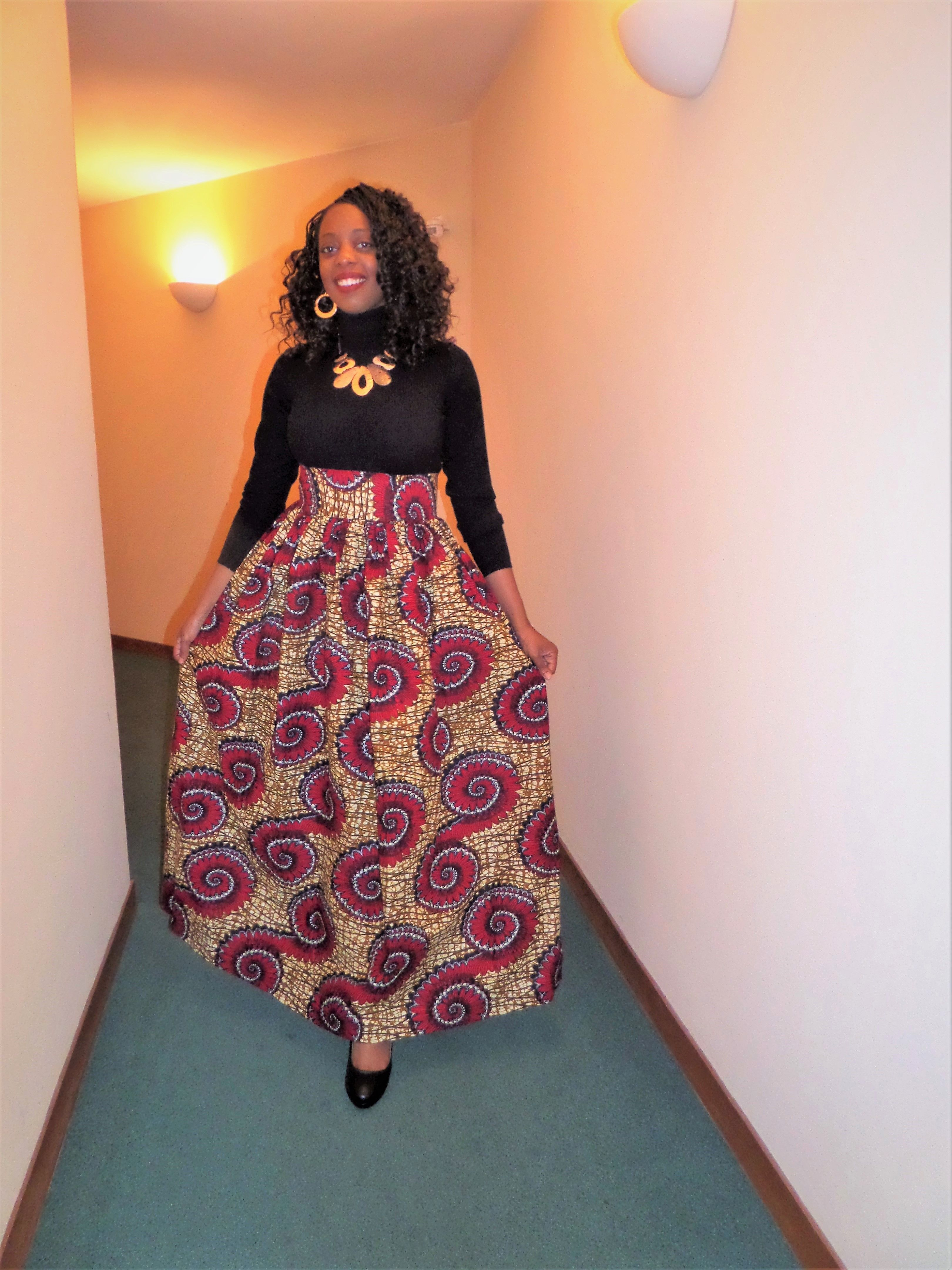 purchase cheap cozy fresh exclusive deals Jupe longue taille haute en wax, cire, pagne africain ...