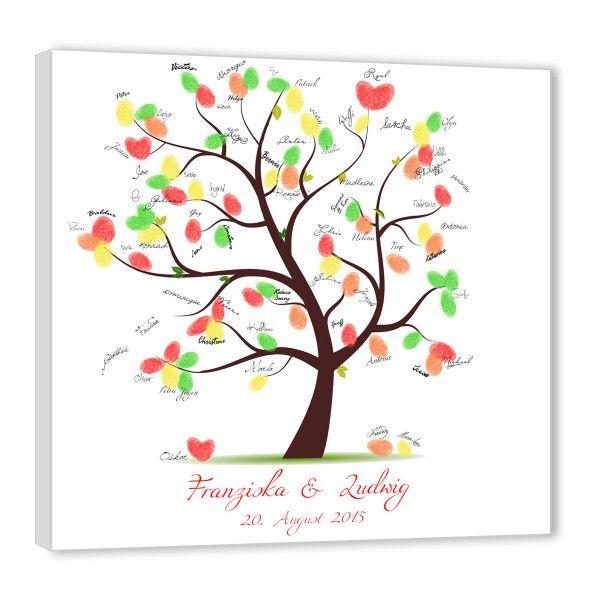 Fingerabdruck baum hochzeitsbaum untertitel rot kommunion pinterest - Hochzeitsbaum leinwand ...
