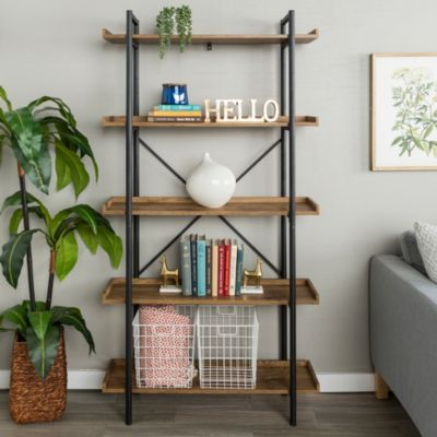 68 Urban Industrial 5 Shelf Mixed Material Wood And Metal Pipe Bookcase