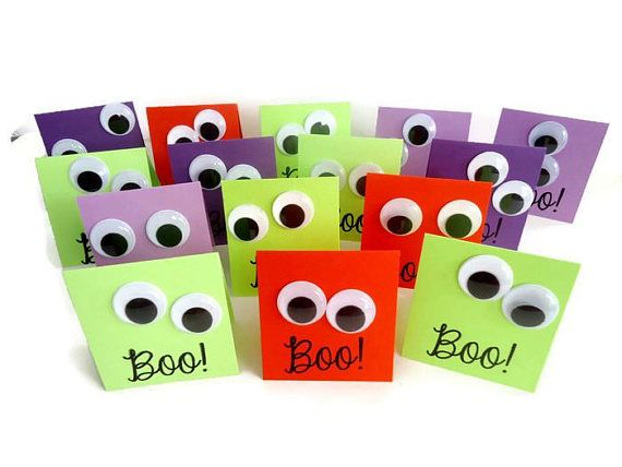 Pin by deb elliott on just for u notes handmade greeting cards and 15 halloween mini cards with jiggle eyes great for halloween parties goody bags treat bags funny jiggle eyes to say boo to you m4hsunfo