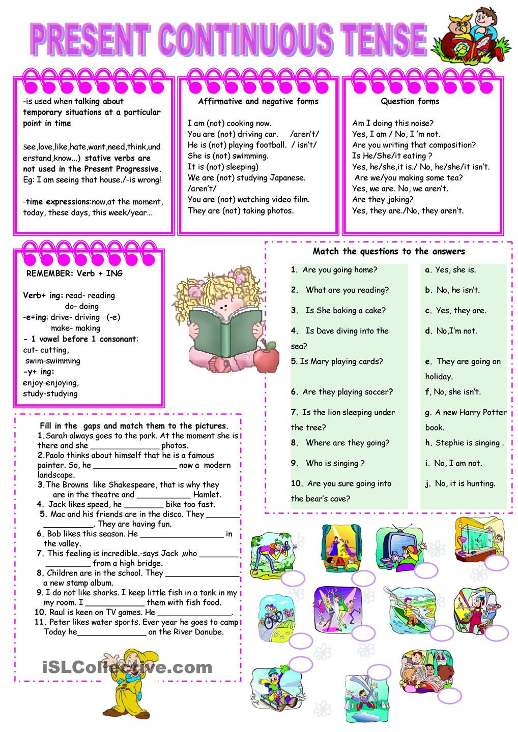 Worksheets Continuous Tense Worksheet present continuous tense worksheet kindergarten level learn level