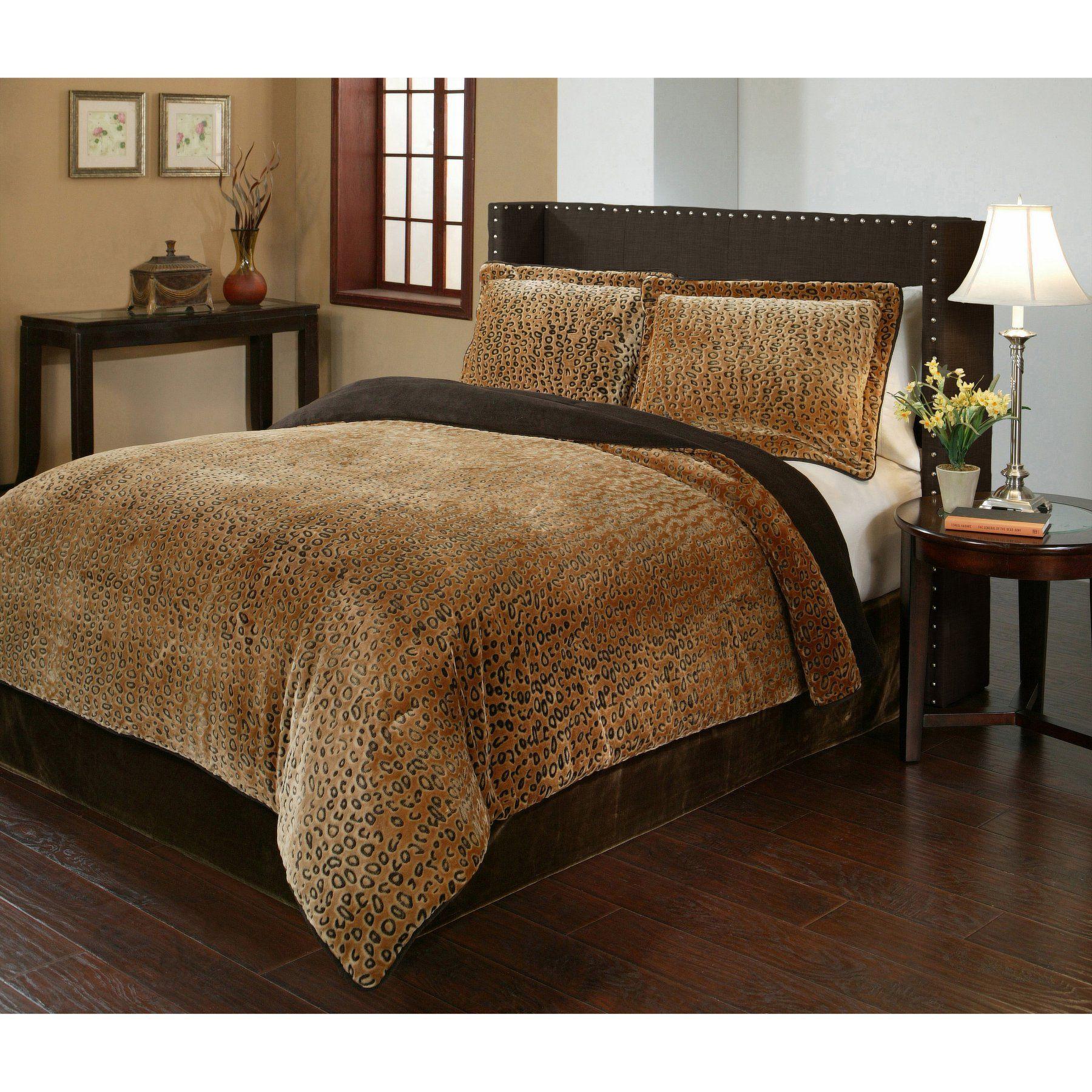 Cheetah 3 Piece Velvet Plush Printed Comforter Set By Fraiche