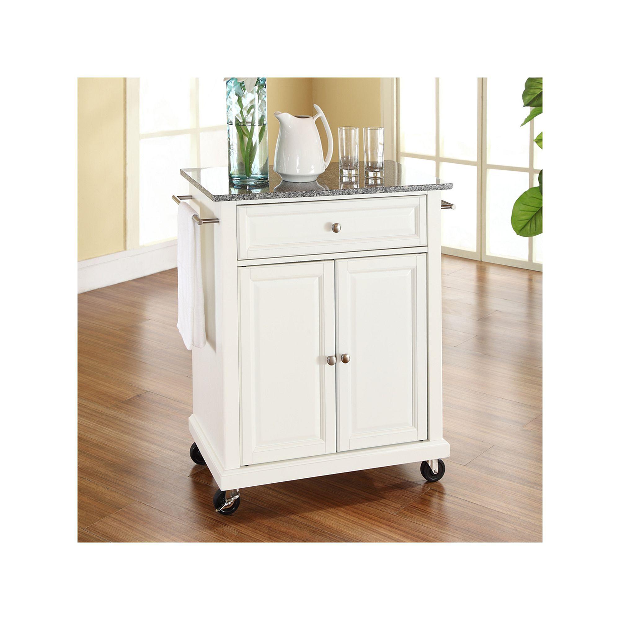 Crosley Furniture Granite Top Kitchen Island Cart White