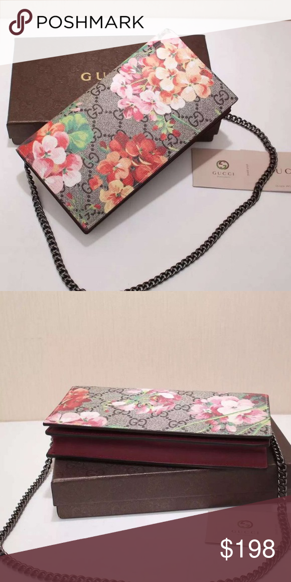 Gucci Blooms Supreme Chain Wallet Arrives Tuesday! Brand new with box and cards. An excellent copy‼️Feel free to make an offer, no LOWBALLS. Gucci Bags Crossbody Bags