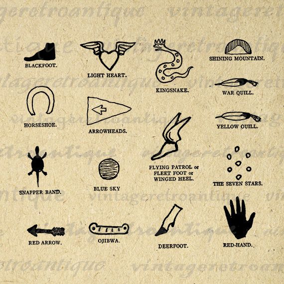 Native American Indian Symbols Graphic Digital Download Image