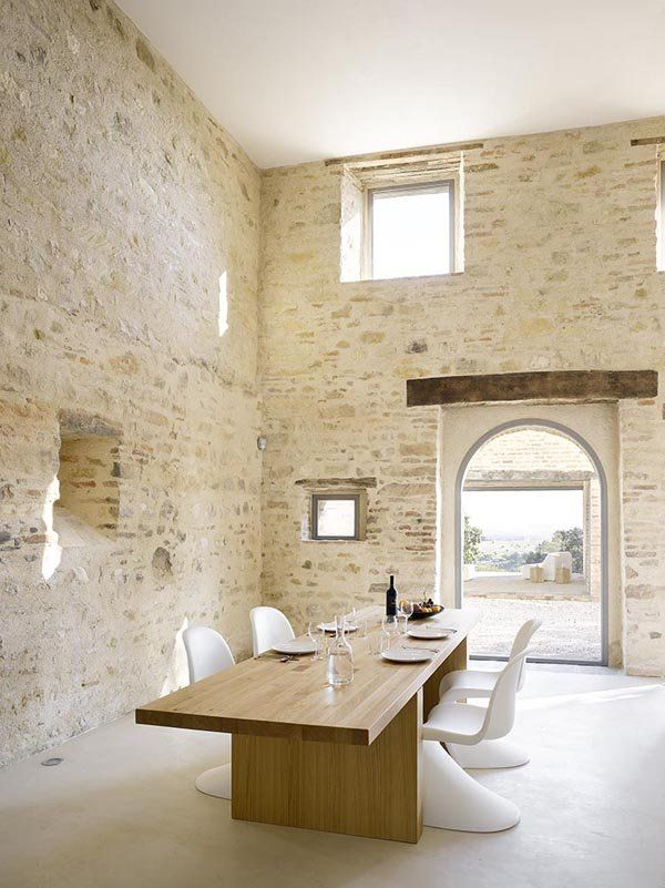 Rustic Minimalist Dining Area In An Italian Farmhouse Love The Stone Walls And Sky High