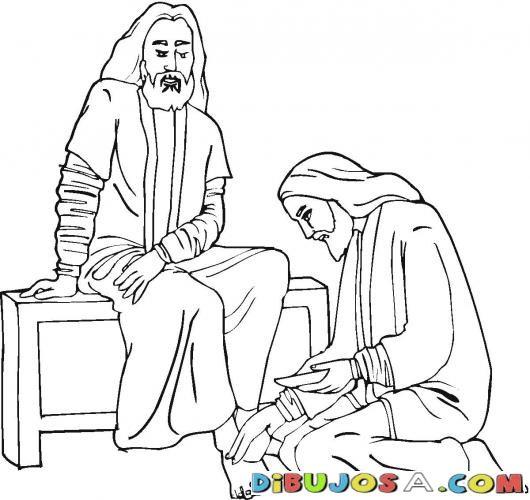 Dibujo para pintar de Jesus Lavando los pies | COLOREAR BIBLICOS ...