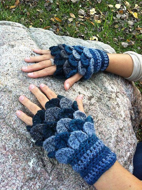 Crochet Crocodile-Stitch Gloves 2 (Pattern) | Tücher, Mütze und Schals