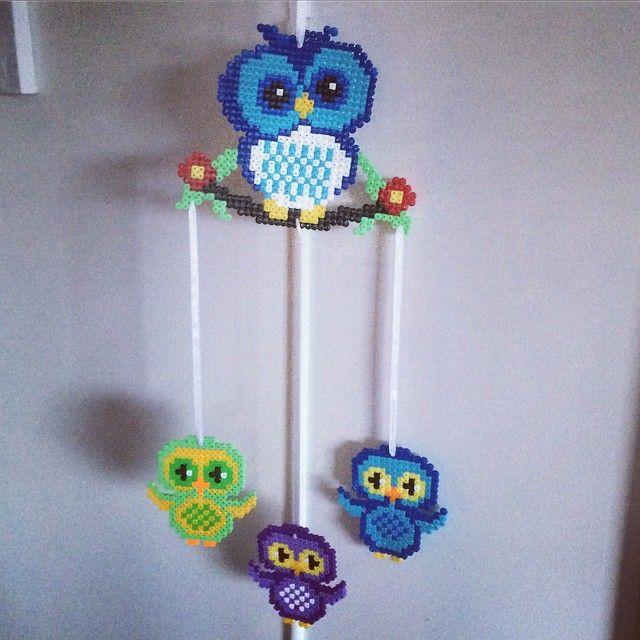 Owl mobile hama beads by knitsformykids | Coruja, Modelos