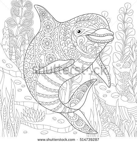 Stylized cute dolphin swimming among underwater seaweed freehand sketch for adult anti stress coloring book page with doodle and zentangle element