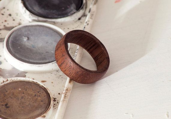 Walnut Wood Ring 7.5mm Free US Shippping by JWMorseDesigns