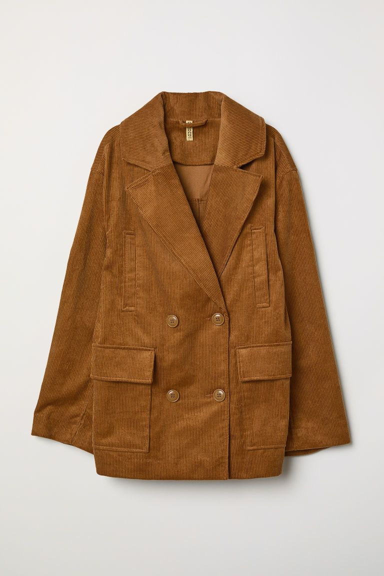 Cotton Corduroy Jacket - Dark beige - Ladies | H&M. FW Trends 2018/2019