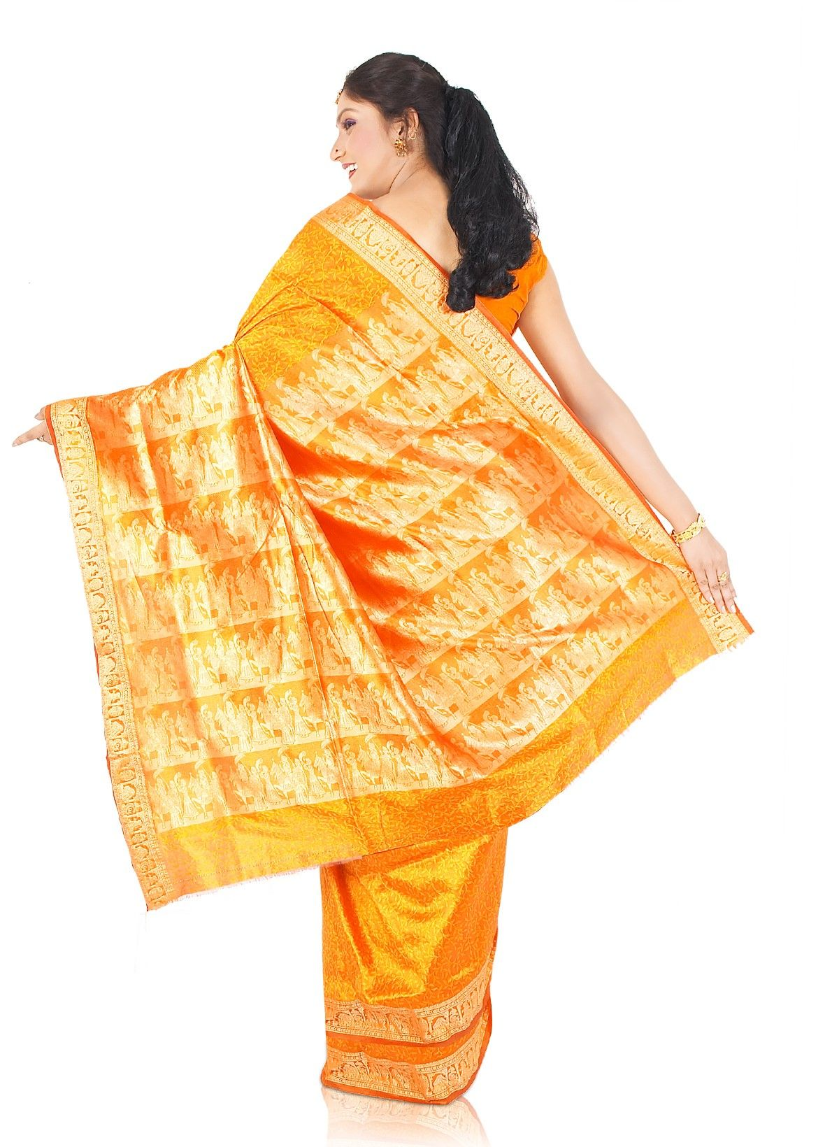 Buy Yellow Orange Poly Silk Saree (CODE:BLR0010042) online from India - IndusDiva.com