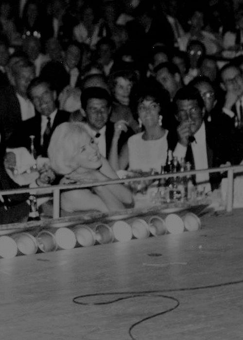 Marilyn and Elizabeth Taylor enjoying a Frank Sinatra show at the Sands Hotel in Las Vegas, June 7th 1961.