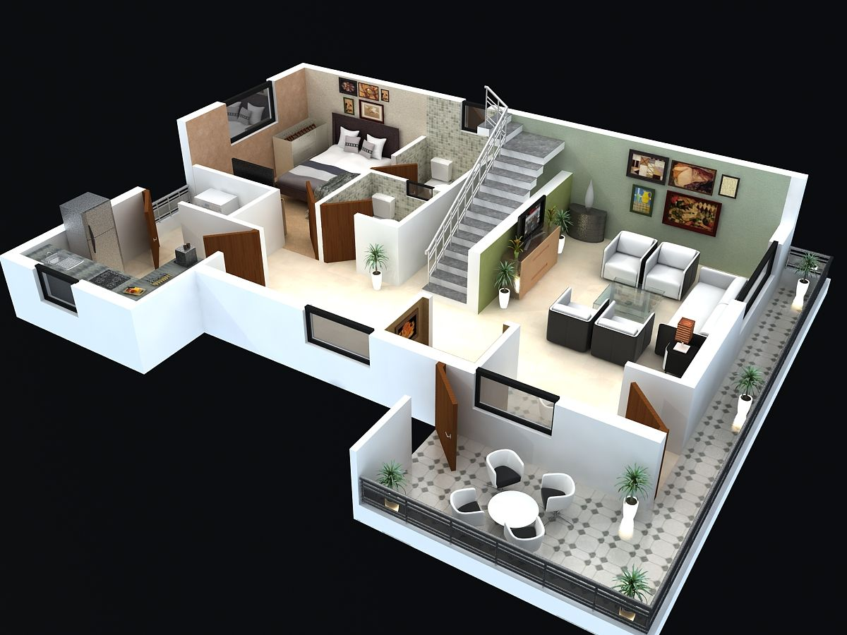 Floor plan for modern triplex 3 floor house click on House plan 3d view