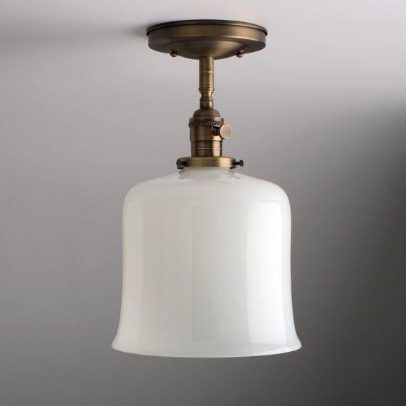 White Milk Glass Bell Shade Flush Mount Or Semi Flush