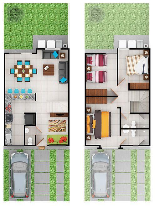 Sensacional cuadrada y minimalista arquitectura for Planos de casas pequenas de dos plantas