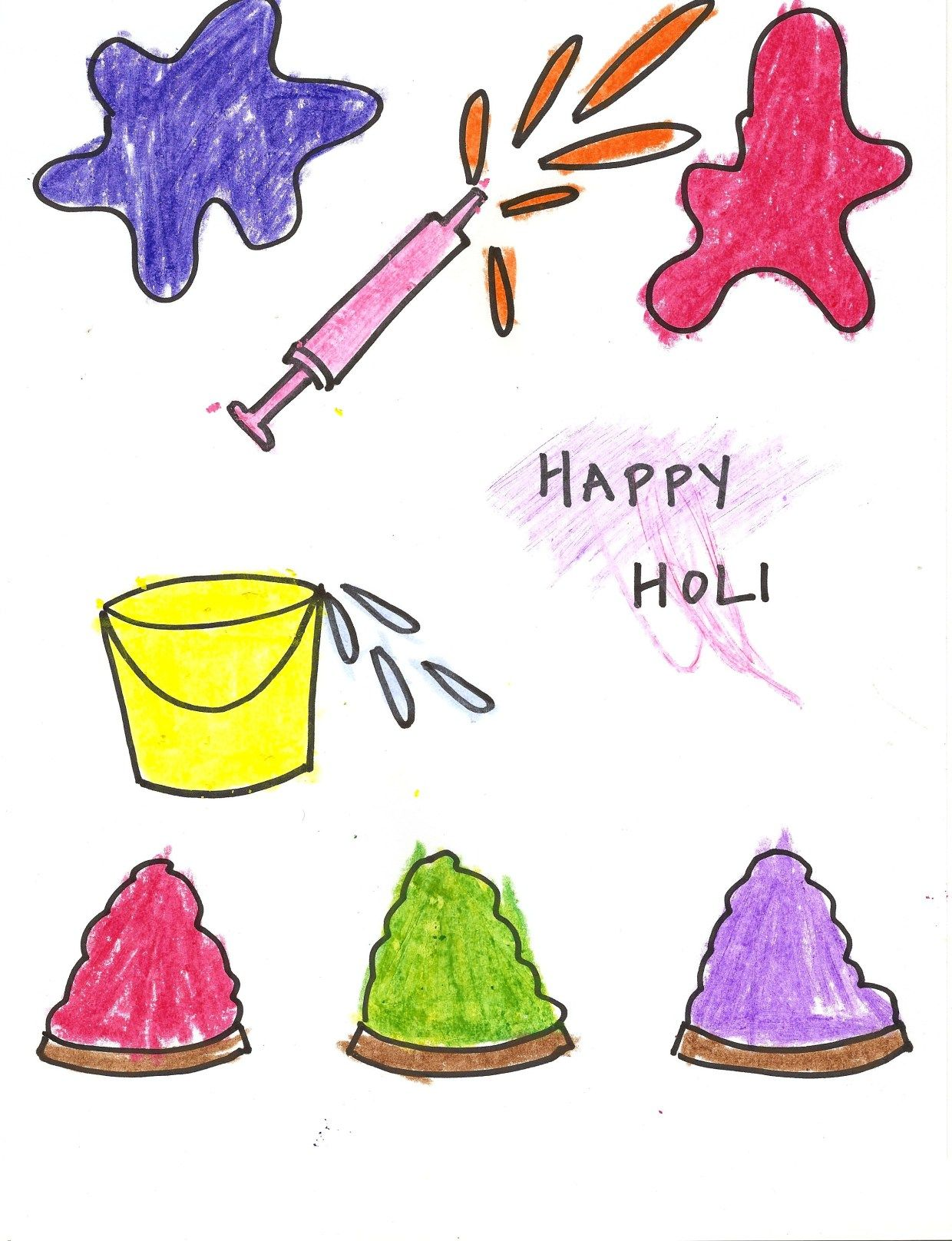 Happy holi meena holi drawing holi coloring pages