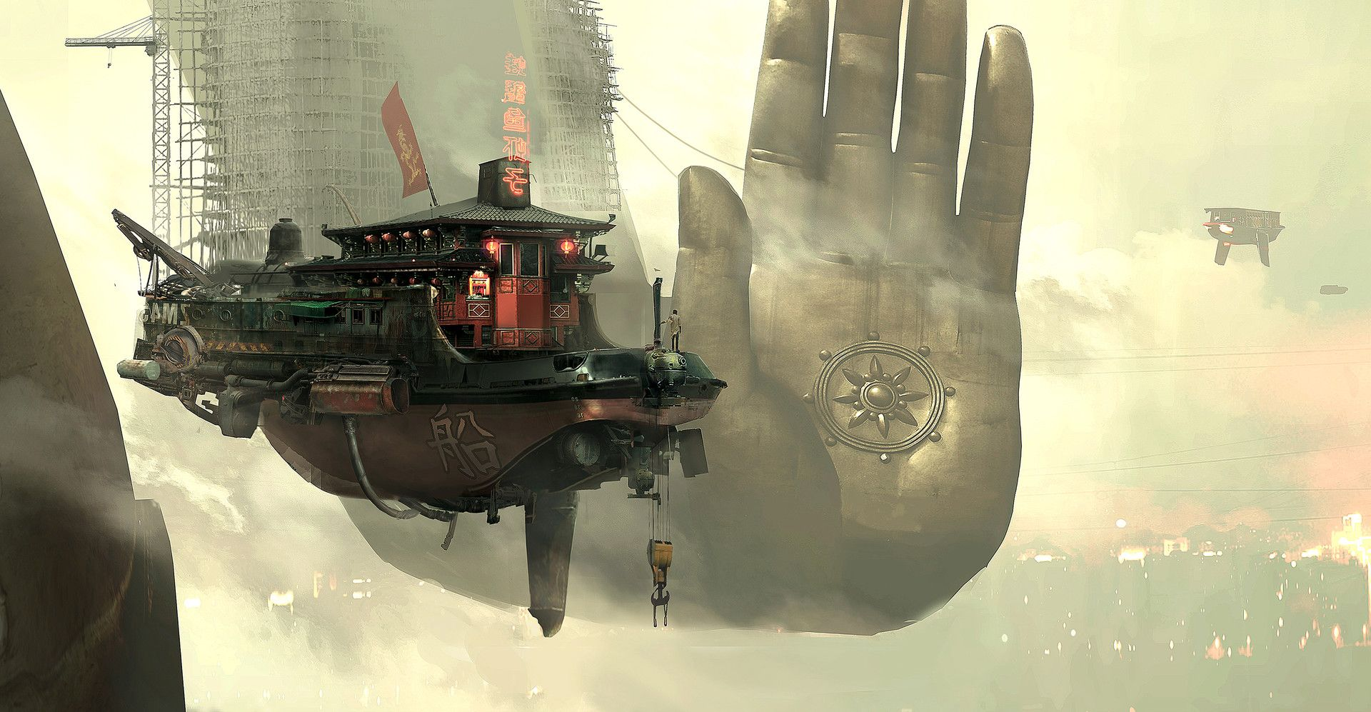 Artstation Ganesh City Concept Art Omar Sabrou Imagine Cenario Ideias Beyond good and evil 2 spaceship