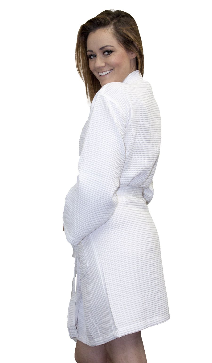 c0c90cc40a Cottonage s White Short Spa Robe has two patch pockets and made of 60%  cotton   40% polyester waffle weave fabric