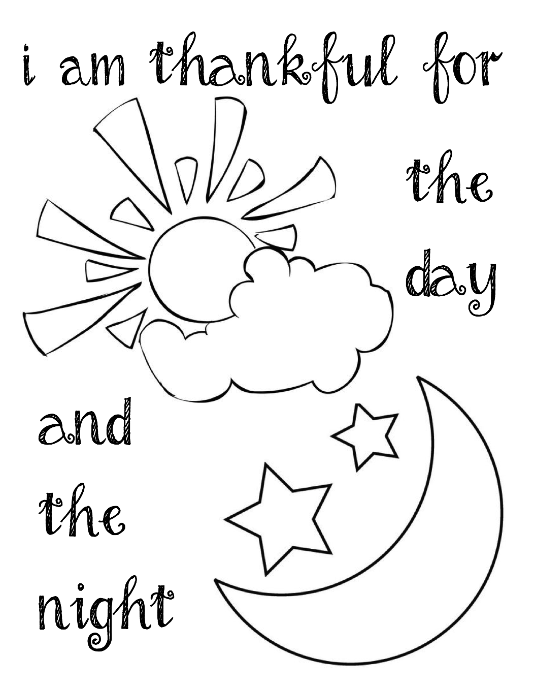 I Am Thankful For The Day And Night Coloring Page For Lds Sunbeams