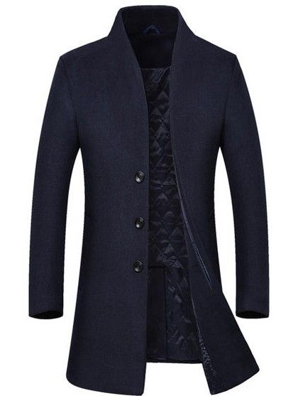 f52d0877488 Мужское пальто узкое синее без воротника выше колен в 2019 г ...