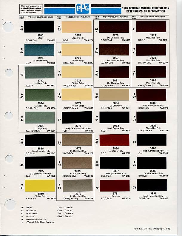 Gm Paint Codes >> Gm Color Chips Color Chip Selection Auto Paint Colors