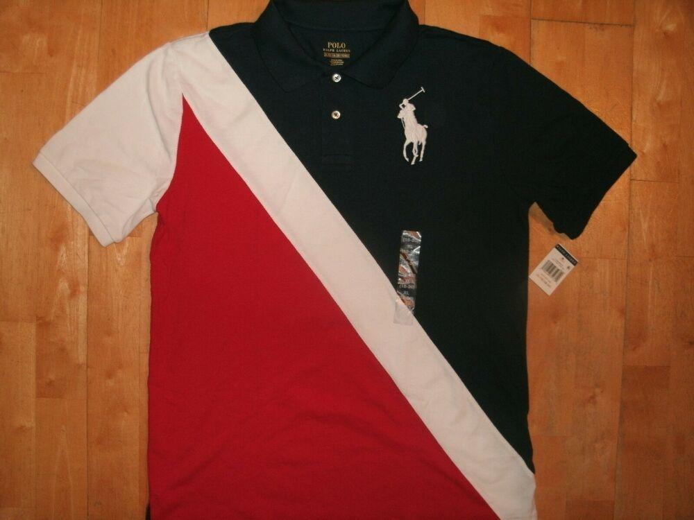 Ralph Lauren Kids Red Mesh Short Sleeve Shirt Navy Blue Pony NEW