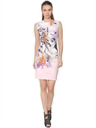 printed stretch cady dress