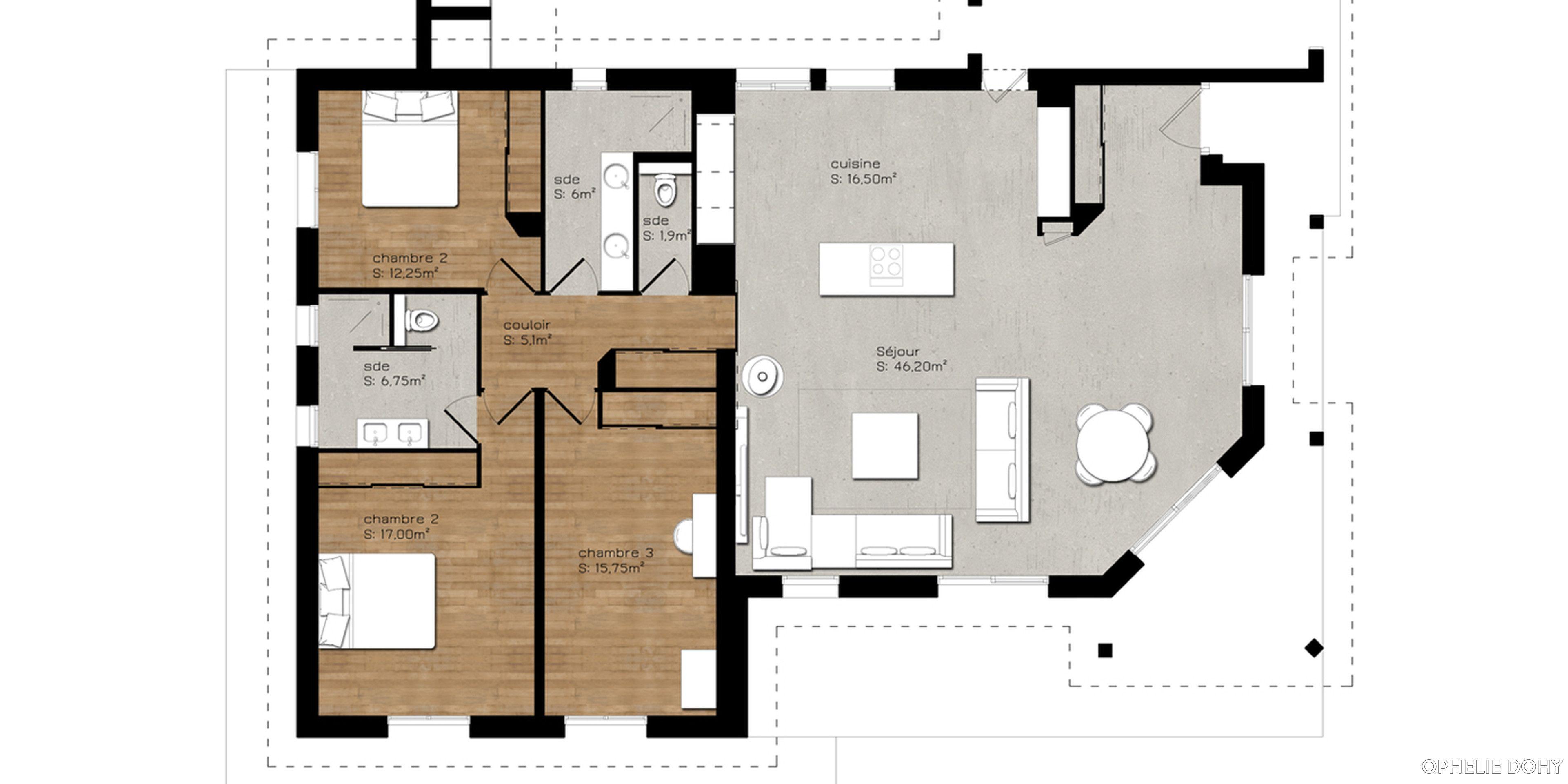 Plan dune maison rez de chaussée