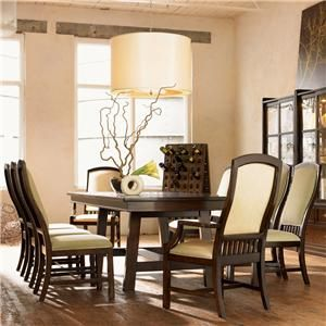 Urban Dwellings 9Pc Trestle Dining Table & Uph Chair Set Gorgeous Drexel Heritage Dining Room Design Decoration